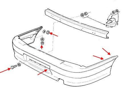 the scheme of fastening of the rear bumper Lada (VAZ), 2113, 2114, 2115