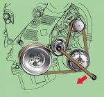 Как снять ролик натяжителя ремня генератора – Замена натяжного ролика ремня генератора — Daewoo Leganza, 2.0 л., 1999 года на DRIVE2